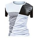 baratos Colares-Homens Camiseta Activo Estampa Colorida Algodão / Poliéster Decote Redondo Delgado Preto & Branco