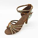 baratos Bálsamo Labial-Mulheres Sapatos de Dança Latina Cetim Sandália Pedrarias / Cristais Salto Agulha Sapatos de Dança Marron / Interior