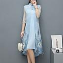 Χαμηλού Κόστους Αξεσουάρ PS3-Γυναικεία Μεγάλα Μεγέθη Κινεζικό στυλ / Εκλεπτυσμένο Θήκη Φόρεμα - Φλοράλ, Λουλουδάτο Ως το Γόνατο / Ασύμμετρο Όρθιος Γιακάς / Άνοιξη / Καλοκαίρι / Floral Patterns / Φαρδιά
