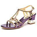 baratos Sandálias Femininas-Mulheres Sapatos Micofibra Sintética PU Verão / Outono Conforto / Inovador Saltos Caminhada Salto Agulha Peep Toe Cristais Dourado /