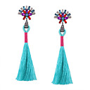 cheap Earrings-Women's Tassel Long Drop Earrings - Rhinestone Tassel, Vintage, Bohemian Black / Red / Blue For Wedding Anniversary Housewarming