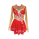 cheap Ice Skating Dresses , Pants & Jackets-Figure Skating Dress Women's / Girls' Ice Skating Dress Red Spandex Rhinestone High Elasticity Performance Skating Wear Handmade Jeweled