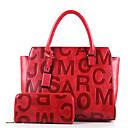 baratos Conjunto de Bolsas-Mulheres Bolsas Outros Tipos de Couro Conjuntos de saco 2 Pcs Purse Set Vermelho / Bege / Marron