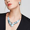 זול Fashion Ring-בגדי ריקוד נשים סט תכשיטים - מצופה כסף ארופאי, אופנתי, הצהרה לִכלוֹל עגילים צמודים / שרשרת Bib כחול / קשת עבור Party / יומי / קזו'אל / שרשראות