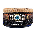 cheap Men's Bracelets-Men's Strand Bracelet / Wrap Bracelet / Leather Bracelet - Leather Evil Eye Personalized, Punk Bracelet Black For Gift / Daily / Casual