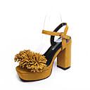 olcso Női topánkák és vászoncipők-Női Cipő PU Tavasz / Nyár Magasított talpú Szandálok Vaskosabb sarok Lábujj nélküli Csat / Rojt Fekete / Sárga / Rózsaszín