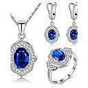 cheap Necklaces-Women's AAA Cubic Zirconia Geometric Jewelry Set - Sterling Silver, Cubic Zirconia Luxury, Geometric, Simple Style Include Drop Earrings / Pendant Necklace / Ring Dark Blue / Green / Blue For Party