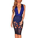 cheap Cell Phone Cases & Screen Protectors-Women's Party / Daily / Club Street chic Bodycon Dress - Patchwork Blue, Lace / Backless / Bow High Rise Deep V / Spring / Summer