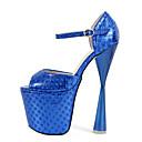 baratos Sapatos de Salto-Mulheres Sapatos Couro Ecológico Primavera / Outono Tira em T / Plataforma Básica Saltos Salto Robusto Peep Toe Presilha Dourado / Fúcsia