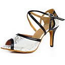 olcso Táska szett-Női Latin cipők Szintetikus Szandál Személyre szabott sarok Dance Shoes Fekete-Fehér / Otthoni