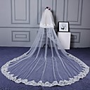 cheap Wedding Decorations-Two-tier Cut Edge Lace Applique Edge Wedding Veil Cathedral Veils 53 Scattered Bead Floral Motif Style Appliques Lace Tulle