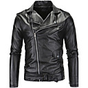 cheap Men's Accessories-Men's Work Punk & Gothic Slim Leather Jacket - Solid Colored Block