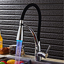 cheap Faucet Sets-Kitchen faucet - Modern / Contemporary Chrome LED Light / Pull-out / ­Pull-down Vessel / Brass