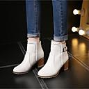 abordables Pelucas de Cabello Natural-Mujer Zapatos PU Otoño / Invierno Botas de Combate Botas Tacón Cuadrado Botines / Hasta el Tobillo Beige / Rosa