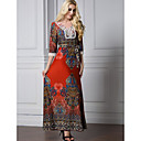 cheap Necklaces-Women's Plus Size Cotton Jalabiya Dress Print High Rise Maxi / Summer