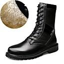 baratos Botas Masculinas-Homens Fashion Boots Couro Outono / Inverno Botas de Moto Botas Botas Cano Médio Preto