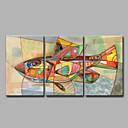 olcso Állatos festmények-Hang festett olajfestmény Kézzel festett - Állatok Művészi / Modern / kortárs Vászon / Nyújtott vászon