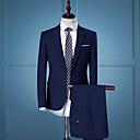 povoljno Anime kostimi-Muškarci Party / Dnevno / Rad Posao / Jednostavan / Ležerne prilike Proljeće / Jesen Normalne dužine odijela, Jednobojni Klasični rever Dugih rukava Poliester Crn / Plava L / XL / XXL / Ulični šik