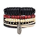 cheap Men's Bracelets-Men's Strand Bracelet Wrap Bracelet Leather Bracelet - Leather Feather Personalized, Punk Bracelet Black For Casual Stage Street