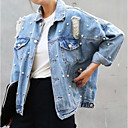cheap Necklaces-Women's Denim Jacket - Solid Colored Shirt Collar / Fall