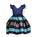 cheap Girls' Dresses-Kids / Toddler Girls' Bow Holiday Blue Solid Colored / Striped Short Sleeve Dress / Party / Cotton / Sweet