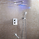 preiswerte Duschkopf LED-Beleuchtung-Duscharmaturen - Moderne / LED Chrom Wandmontage Keramisches Ventil Bath Shower Mixer Taps / Messing / Zwei Griffe Vier Löcher