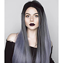 cheap Synthetic Lace Wigs-Synthetic Lace Front Wig Women's Straight Gray Synthetic Hair Ombre Hair Gray Wig Long Lace Front Grey Uniwigs
