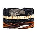 cheap Men's Bracelets-Men's Strand Bracelet Wrap Bracelet Leather Bracelet - Leather Wings Personalized, Vintage, Fashion Bracelet Black For Daily Casual Stage