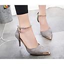 olcso Női magassarkú cipők-Női Cipő Fordított bőr Nyár Kényelmes Esküvői cipők Fekete / Szürke