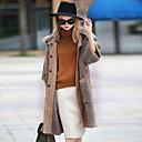 abordables Adhesivos de Pared-Mujer Vintage Diario Noche Invierno Otoño Regular Abrigo, Con Capucha Bloques Poliéster Angora