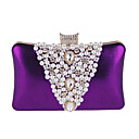 cheap Clutches & Evening Bags-Women's Bags Polyester Evening Bag Rhinestone / Pearls Black / Silver / Purple