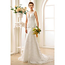 cheap Clutches & Evening Bags-Mermaid / Trumpet V Neck Court Train Lace Made-To-Measure Wedding Dresses with Appliques / Buttons by LAN TING BRIDE® / See-Through / Beautiful Back