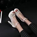 baratos Sandálias Femininas-Mulheres Sapatos Materiais Customizados Primavera / Verão Conforto / Inovador Salto Agulha / Plataforma Presilha Branco / Preto / Bege / Casamento / Festas & Noite