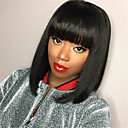 cheap Synthetic Capless Wigs-Synthetic Wig Straight Bob Haircut Synthetic Hair Black Wig Medium Length Capless
