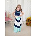 رخيصةأون فساتين البنات-لفتاة فستان مخطط قطن صيف بدون كم خطوط أزرق