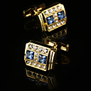 cheap Men's Accessories-Geometric Golden Cufflinks Gift Boxes & Bags / Fashion Men's Costume Jewelry For