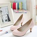 preiswerte Damen Heels-Damen Schuhe PU Frühling Komfort High Heels Stöckelabsatz Runde Zehe Beige / Rosa