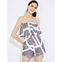 cheap Synthetic Lace Wigs-Women's Daily / Club Street chic Strapless Gray Romper Print M L XL High Rise Sleeveless Summer