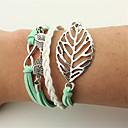 cheap Men's Bracelets-Men's / Women's Wrap Bracelet / Leather Bracelet - Leather Leaf, Owl Vintage, Bohemian, Punk Bracelet Green For Christmas / Wedding / Party