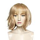 billige Syntetiske parykker uten hette-Syntetiske parykker Rett Blond Bobfrisyre Syntetisk hår Blond Parykk Dame Kort Lokkløs Bleik Blond