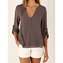 cheap Jewelry Sets-Women's Going out Casual Loose Blouse - Solid Colored Deep V / Summer