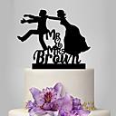 זול קישוטים לעוגה-קישוטים לעוגה נושא קלאסי / חתונה זוג קלסי פלסטי חתונה עם 1 pcs תיק פולי