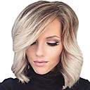 cheap Synthetic Capless Wigs-Synthetic Wig Curly / Wavy Blonde With Bangs Synthetic Hair Ombre Hair / Highlighted / Balayage Hair / Side Part Blonde Wig Women's Short Capless