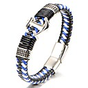 cheap Men's Bracelets-Men's Geometric Bracelet Bangles Leather Bracelet - Titanium Steel Classic, Fashion Bracelet Blue For Gift Daily