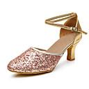 cheap Latin Shoes-Women's Paillette Modern Shoes Heel / Sneaker Customized Heel Customizable Black / Silver / Pink / Indoor