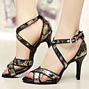 olcso Latin cipők-Női Latin cipők Bőrutánzat / PU Szandál Személyre szabott sarok Személyre szabható Dance Shoes Fekete / Otthoni