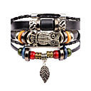 cheap Men's Bracelets-Men's Layered Strand Bracelet / Leather Bracelet - Leather Owl Vintage, Multi Layer Bracelet Black For Street / Club