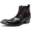 رخيصةأون جزمات رجالي-للرجال Fashion Boots Leather نابا خريف / شتاء كتب البوط القصير / بوط الكاحل أسود / أحمر / الحفلات و المساء