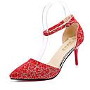 abordables Zapatos de Baile Latino-Mujer Zapatos PU Primavera / Verano Confort / Suelas con luz Tacones Tacón Stiletto Dedo Puntiagudo Hebilla / Lunares Negro / Rojo / Azul