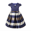 cheap Girls' Dresses-Girl's Daily Solid Dress, Cotton Polyester Spring Fall Short Sleeves Stripes Navy Blue Wine